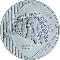 reverse of 5 Pesos / 1 Onza - Jaguar (2001) coin with KM# 658 from Mexico.