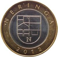 reverse of 2 Litai - Lithuanian resorts - Neringa (2012) coin with KM# 185.1 from Lithuania. Inscription: NERINGA 2012
