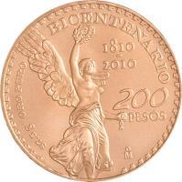 reverse of 200 Pesos - Mexican Bicentenary (2010) coin with KM# 932 from Mexico. Inscription: BICENTENARIO 37.5 g ORO PURO 1810 - 2010 200 PESOS