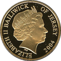obverse of 25 Pounds - Elizabeth II - 60th Anniversary of the D-Day (2004) coin with KM# 125 from Jersey. Inscription: ELIZABETH II BAILIWICK OF JERSEY 2004 IRB