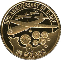 reverse of 25 Pounds - Elizabeth II - 60th Anniversary of the D-Day (2004) coin with KM# 125 from Jersey. Inscription: 60th ANNIVERSARY OF D-DAY 25 POUNDS