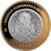reverse of 100 Pesos - Moneda de balanza (2013) coin with KM# 973 from Mexico. Inscription: HERENCIA NUMISMATICA DE MEXICO M 2013 $100
