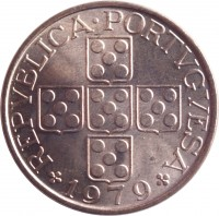 obverse of 50 Centavos (1969 - 1979) coin with KM# 596 from Portugal. Inscription: REPUBLICA PORTUGUESA 1974