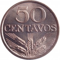 reverse of 50 Centavos (1969 - 1979) coin with KM# 596 from Portugal. Inscription: 50 CENTAVOS