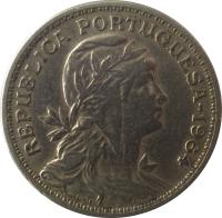 obverse of 50 Centavos (1927 - 1968) coin with KM# 577 from Portugal. Inscription: REPUBLICA PORTUGUESA - 1964 SIMOES REGO GR