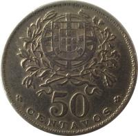 reverse of 50 Centavos (1927 - 1968) coin with KM# 577 from Portugal. Inscription: 50 * CENTAVOS *