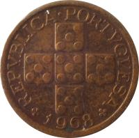 obverse of 10 Centavos (1942 - 1969) coin with KM# 583 from Portugal. Inscription: REPVBLICA · PORTVGVESA 1968
