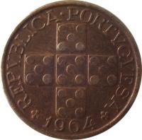 obverse of 20 Centavos (1942 - 1969) coin with KM# 584 from Portugal. Inscription: REPVBLICA · PORTVGVESA 1964