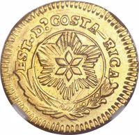 obverse of 1 Escudo (1842) coin with KM# 33 from Costa Rica. Inscription: EST.De.COSTA-RICA