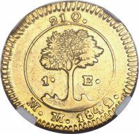 reverse of 1 Escudo (1842) coin with KM# 33 from Costa Rica. Inscription: 21 Q. 1• E• M.M. 1842.