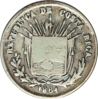 obverse of 25 Centavos (1864) coin with KM# 105 from Costa Rica. Inscription: REPUBLICA DE COSTA RICA 1864