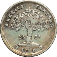 reverse of 25 Centavos (1864) coin with KM# 105 from Costa Rica. Inscription: AMERICA CENTRAL 25 Cs. 9 D. G. W.