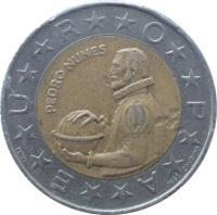 reverse of 100 Escudos (1989 - 2001) coin with KM# 645 from Portugal. Inscription: PEDRO NUNES E**U**R**O**P**A JOSE CANDIDO