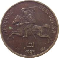 obverse of 10 Centų (1925) coin with KM# 73 from Lithuania. Inscription: LIETUVOS RESPUBLIKA 1925