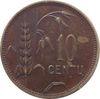 reverse of 10 Centų (1925) coin with KM# 73 from Lithuania. Inscription: 10 CENTŲ
