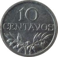 reverse of 10 Centavos (1969 - 1979) coin with KM# 594 from Portugal. Inscription: 10 CENTAVOS