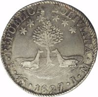 obverse of 4 Soles (1827 - 1829) coin with KM# 96 from Bolivia. Inscription: REPUBLICA BOLIVIANA · PTS · 4S · 1827 · J · M ·