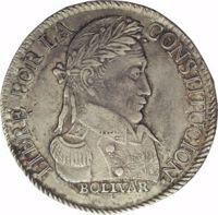 reverse of 4 Soles (1827 - 1829) coin with KM# 96 from Bolivia. Inscription: LIBRE POR LA CONSTITUCION· BOLIVAR