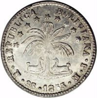 obverse of 2 Soles (1853 - 1859) coin with KM# 121 from Bolivia. Inscription: REPUBLICA BOLIVIANA · PTS · 2S · 1853 · M · J ·