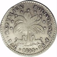 obverse of 2 Soles (1855 - 1856) coin with KM# 129 from Bolivia. Inscription: REPUBLICA BOLIVIANA · PAZ · 1855 · 2S · F ·