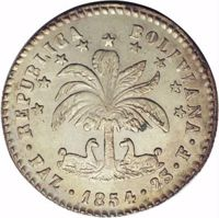 obverse of 2 Soles (1854) coin with KM# 126 from Bolivia. Inscription: REPUBLICA BOLIVIANA · PAZ · 1854 · 2S · F ·