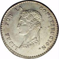 reverse of 2 Soles (1854) coin with KM# 126 from Bolivia. Inscription: LIBRE POR LA CONSTITUCION. BOLIVAR