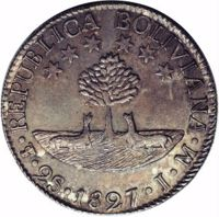 obverse of 2 Soles (1827 - 1829) coin with KM# 95 from Bolivia. Inscription: REPUBLICA BOLIVIANA · PTS · 2S · 1827 · J · M ·