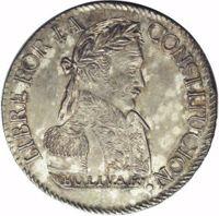 reverse of 2 Soles (1827 - 1829) coin with KM# 95 from Bolivia. Inscription: LIBRE POR LA CONSTITUCION. BOLIVAR
