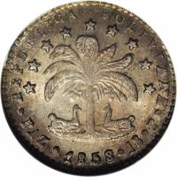 obverse of 1 Sol (1857 - 1859) coin with KM# 131 from Bolivia. Inscription: REPUBLICA BOLIVIANA · PAZ · 1858 · 1S · P ·