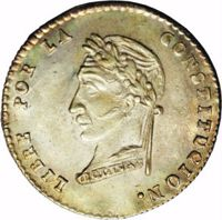 reverse of 1 Sol (1857 - 1859) coin with KM# 131 from Bolivia. Inscription: LIBRE POR LA CONSTITUCION. BOLIVAR
