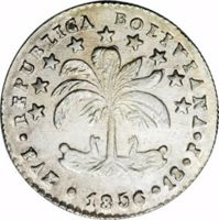 obverse of 1 Sol (1855 - 1856) coin with KM# 128 from Bolivia. Inscription: REPUBLICA BOLIVIANA · PAZ · 1856 · 1S · P ·