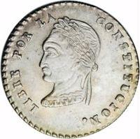 reverse of 1 Sol (1855 - 1856) coin with KM# 128 from Bolivia. Inscription: LIBRE POR LA CONSTITUCION. BOLIVAR