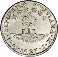 obverse of 1 Sol (1827 - 1829) coin with KM# 94 from Bolivia. Inscription: REPUBLICA BOLIVIANA · PTS · 1S · 1827 · J · M ·
