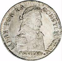 reverse of 1 Sol (1827 - 1829) coin with KM# 94 from Bolivia. Inscription: LIBRE POR LA CONSTITUCION. BOLIVAR