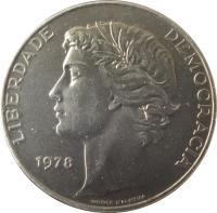 obverse of 25 Escudos (1977 - 1978) coin with KM# 607 from Portugal. Inscription: LIBERDADE DEMOCRACIA 1977 NORTE D'ALMEIRA