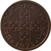 obverse of 20 Centavos (1969 - 1974) coin with KM# 595 from Portugal. Inscription: REPUBLICA PORTUGUESA 1970