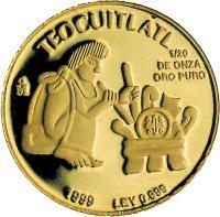 reverse of 1/20 Onza - Gold Bullion (1999) coin with KM# 642 from Mexico. Inscription: TEOCUITLATL Mo 1/20 DE ONZA ORO PURO 1999 LEY 0.999