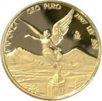 reverse of 1/10 Onza - Libertad Gold Bullion (2000 - 2011) coin with KM# 672 from Mexico. Inscription: 1/10 ORO PURO 2007 LEY .999 Mo