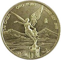 reverse of 1/4 Onza - Libertad Gold Bullion (2000 - 2009) coin with KM# 673 from Mexico. Inscription: 1/4 ONZA ORO PURO 2002 LEY .999 Mo