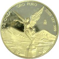 reverse of 1/2 Onza - Libertad Gold Bullion (2000 - 2009) coin with KM# 674 from Mexico. Inscription: 1/2 ONZA ORO PURO LEY .999 Mo