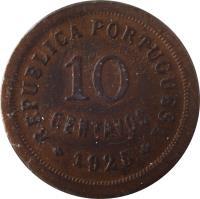 reverse of 10 Centavos (1924 - 1940) coin with KM# 573 from Portugal. Inscription: REPUBLICA PORTUGUESA 10 CENTAVOS 1930