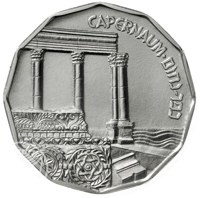 reverse of ½ Sheqel - Sites in the Holy Land Series: Capernaum (1985) coin with KM# 152 from Israel. Inscription: CAPERNAUM ⠂כפר-נחום
