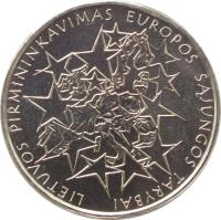 reverse of 1 Litas - Lithuania's Presidency of the Council of the European Union (2013) coin with KM# 182 from Lithuania. Inscription: LIETUVOS PIRMININKAVIMAS EUROPOS SĄJUNGOS TARYBAI