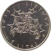 obverse of 1 Litas - Lithuania's Presidency of the Council of the European Union (2013) coin with KM# 182 from Lithuania. Inscription: 2013 LIETUVA 1 LITAS