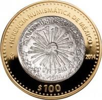 reverse of 100 Pesos - Villa revolutionary coin 1914 (2014) coin with KM# 985 from Mexico. Inscription: HERENCIA NUMISMÁTICA DE México Mo 2014 $100