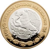 obverse of 100 Pesos - Republican 1/4 Real 1834 (2014) coin with KM# 984 from Mexico. Inscription: ESTADOS UNIDOS MEXICANOS