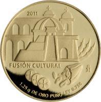 reverse of - Fusión Cultural: Architecture - Gold Bullion (2011) coin with KM# 958 from Mexico. Inscription: 2011 FUSIÓN CULTURAL Mo 1.25 g DE ORO PURO LEY 0.750