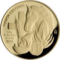reverse of - Fusión Cultural: Mercancía - Gold Bullion (2011) coin with KM# 960 from Mexico. Inscription: FUSIÓN CULTURAL 1.25 g DE ORO PURO LEY 0.750 2011 Mo