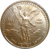 reverse of 1/10 Onza - Libertad Gold Bullion (1991 - 1994) coin with KM# 541 from Mexico. Inscription: 1/10 ONZA ORO PURO Mo 1994 mexico ley .999