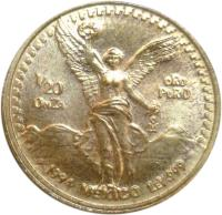 reverse of 1/20 Onza - Libertad Gold Bullion (1991 - 1994) coin with KM# 589 from Mexico. Inscription: 1/20 ONZA ORO PURO 1994 MEXICO LEY.999